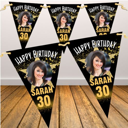Personalised Star Sparkle Happy Birthday Flag PHOTO Bunting Banner - N85 ANY AGE